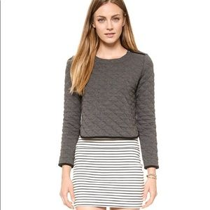 MADEWELL Quilted Grey Crew Neck Zipper Long Sleeve